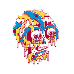 Skull with skeleton eyes dripping on white background