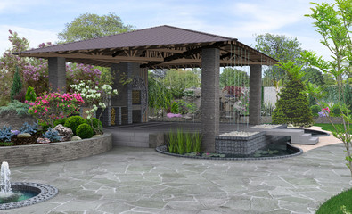 Photo sur Toile Lavende Beautiful backyard makeovers and patio water fountain features, 3D render