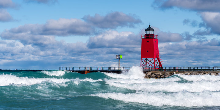 Charlevoix South Pier lighthouse in Charlevoix, Michigan, USA.