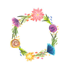 Cute round frame with colorful sketchy flowers and grass. Summer childish floral circle wreath for kids birthday greeting cards, banner design, spring children event decoration