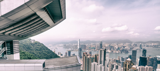 Beautiful view on Hong Kong city skyline from Victoria Peak.