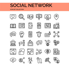 Social Network Icons Set. UI Pixel Perfect Well-crafted Vector Thin Line Icons. The illustrations are a vector.