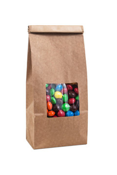 Paper bag for candy Brown bag package template