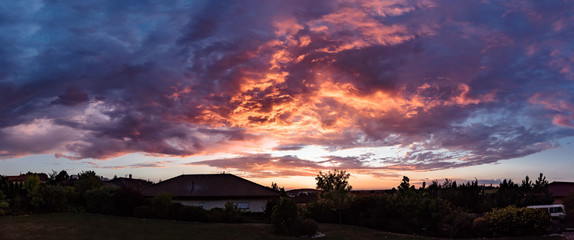 Colorful sunset sky with clouds