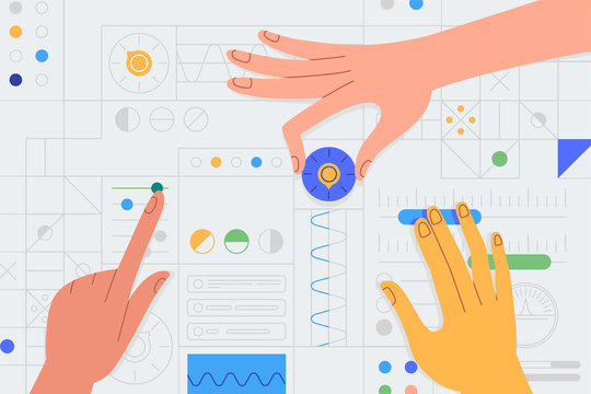 Vector illustration in simple flat style with hands and abstract user interface - teamwork and collaboration concept - tuning and developing app for business
