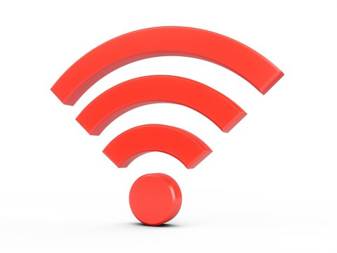 3D Rendering Red Wifi Wireless Network Symbol isolated on white background