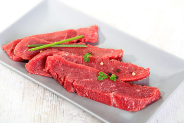 beef meat on a white background