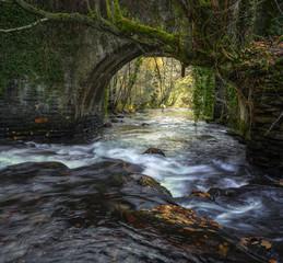 An old medieval stone bridge