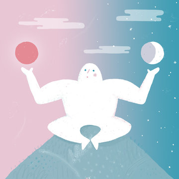 Decision Making - A character sitting on top of a hill holding the sun and the moon