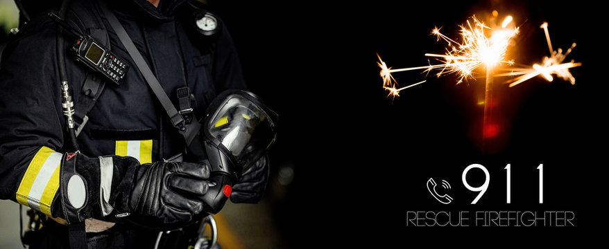 Rescue firefighter man. Fireman with gas mask and helmet.