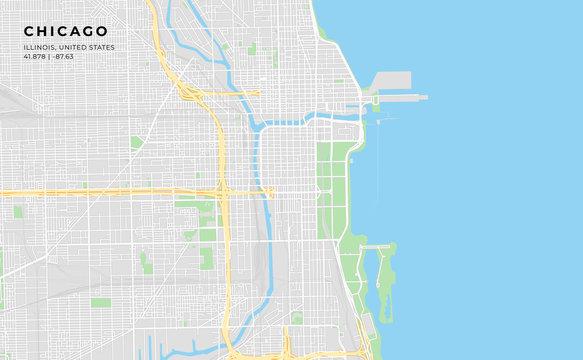 Printable street map of Chicago, Illinois