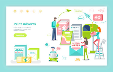 Marketing and promotion, print adverts web page or site vector. Newspaper and leaflets, post messages and journals, commercial landing page flat style