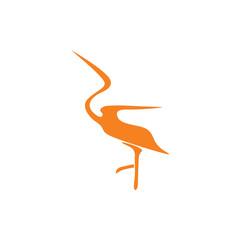 simple white egret symbol logo vector