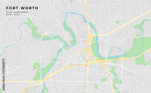 Printable street map of Fort Worth, Texas\