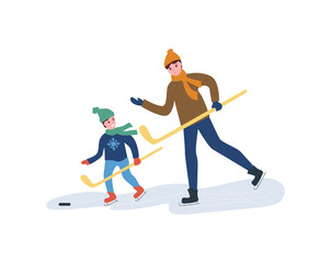 Hockey training, father with son playing in winter season vector. Seasonal game for men, people with wooden sticks skating on ice rink, pulling puck