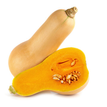 butternut squash slice isolated over white background