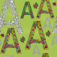 Seamless vector pattern with a painted letter A and flowers