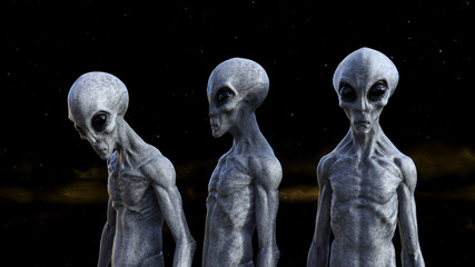 Illustration of three gray aliens in space with a dark yellow nebula in the background. Wall mural