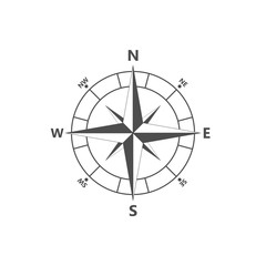Compass rose, navigition icon. Vector illustration, flat design.