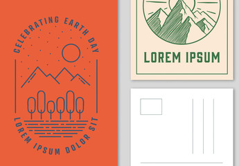 Illustrated Earth Day Postcard Layouts