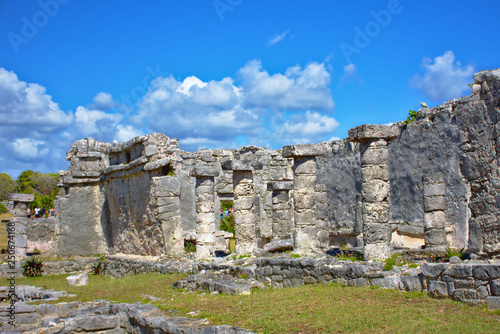 Mayan Ruins And A Beautiful Day Blue Sky With Some White