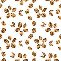 Watercolor seamless pattern in retro style with coffee beans. Vintage minimalistic coffee ornament with organic texture in gold and brown colors isolated on a white background