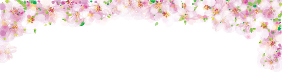 Vector pink, floral border, blossoming sakura tree, bokeh effect, isolated on white.
