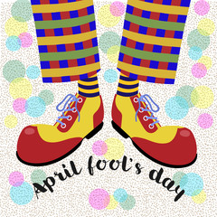 Fool's day. The amusing leggs clown in bright huge shoes . Vector