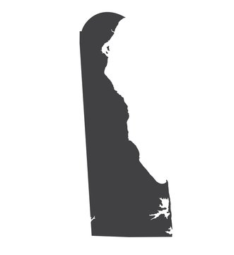 Vector Delaware Map silhouette. Isolated vector Illustration. Black on White background.
