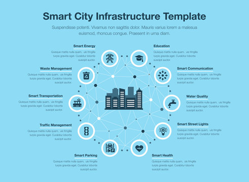 Simple vector infographic for smart city infrastructure with icons and place for your content, isolated on blue background.