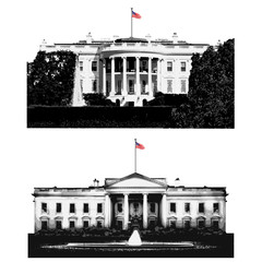 Symbole du pouvoir américain, la maison blanche, résidence du président des États Uni. Illustration montrant la façace et le côté jardin du célèbre monument de washington