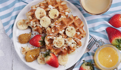 Sweet waffles, Belgian waffles with topping and berries, Light background, Top view, Banner