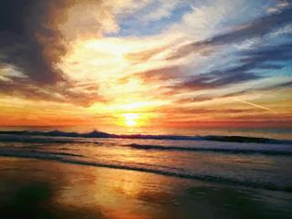Atlantic Ocean Sunrise in Myrtle Beach South Carolina Digital Art