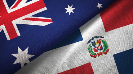Australia and Dominican Republic two flags textile cloth, fabric texture