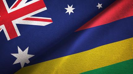 Australia and Mauritius two flags textile cloth, fabric texture