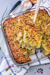 Homemade potato kugel is a dish of jewish cuisine.