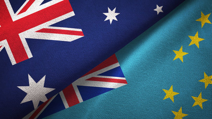 Australia and Tuvalu two flags textile cloth, fabric texture