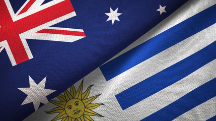 Australia and Uruguay two flags textile cloth, fabric texture