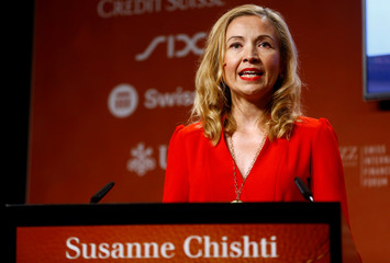 Chishti, CEO and founder of FINTECH Circle, makes a speech during the Swiss International Finance Forum in Bern