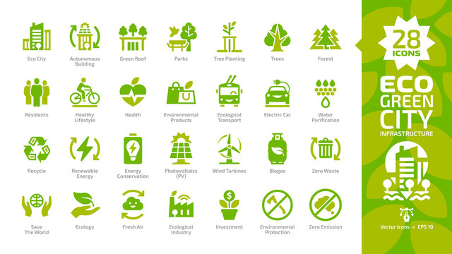 Eco green city color glyph icon set with parks, trees, health, electric car, water purification, recycle, renewable energy, photovoltaics, wind turbines, biogas, fresh air and zero waste pictogram.