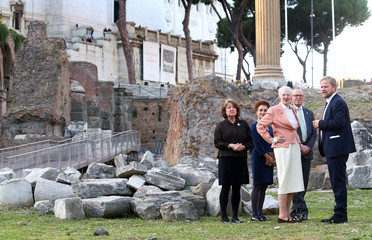 Queen Margrethe II of Denmark visits the Roman Forum in Rome