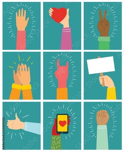 Vector illustration of different hands up   Concept of unity