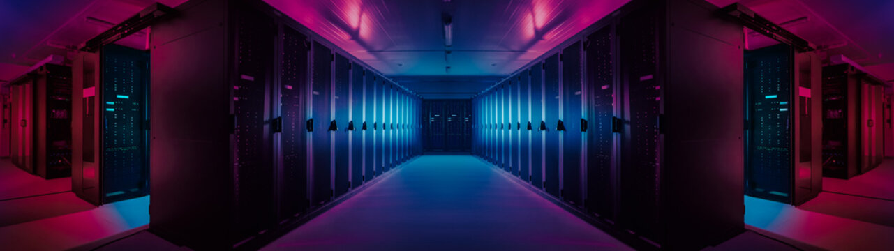 Wide-Angle Panorama Shot of a Working Data Center With Rows of Rack Servers. Red Emergency Led Lights Blinking and Computers are Working. Dark Ambient Light.