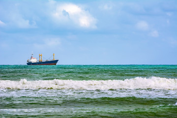 Dry cargo ship in the Sea