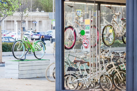 bicycle rental on the city street shop