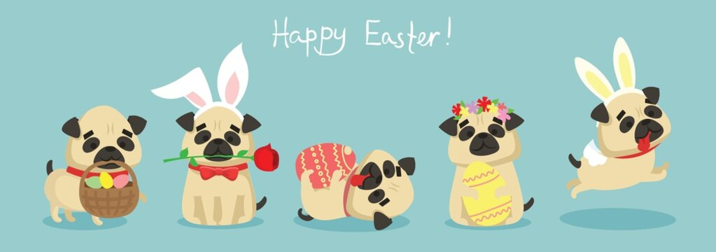 Vector Easter card with cute puppy pug dogs with rabbit ears, spring flower, eggs and hand drawn text - Happy Easter in the flat style