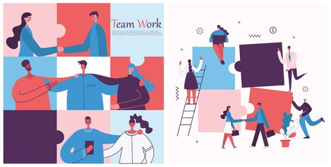 Fototapeta Vector illustration of the office concept business people in the flat style. E-commerce and team work business puzzle concept obraz