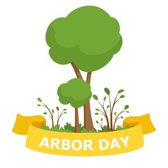 Arbor Day vector Illustration. Green tree and pink ribbon