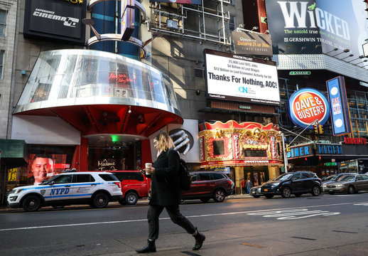Electronic billboard in Times Square displays statement about U.S. Rep. Ocasio-Cortez and Amazon's pullout in New York City