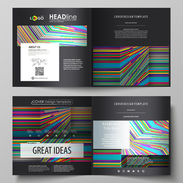 Business templates for square design bi fold brochure, flyer, report. Leaflet cover, abstract vector layout. Bright color lines, colorful style with geometric shapes, beautiful minimalist background.